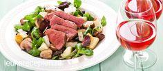 Lekkere en snelle maaltijdsalade met appel, champignons en biefstuk met een heerlijke balsamicodressing