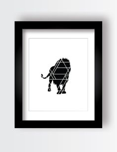 Lion Print Geometric Animal Black and White by MyLittleCrazies