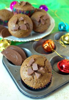 Chocolate Chip Gingerbread Muffins made with Terrys chocolate orange. Christmas in a muffin.
