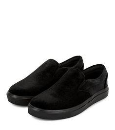 Black Velvet Slip On Plimsolls  | New Look