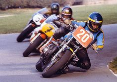 A virtually unknown Wayne Gardner came from Australia to race in England in 1981. He raced the Moriwaki Z1000 and slept in his car. Towards the end of season he went to Olivers Mount, a public road/park circuit in Scarborough, and beat former two-time World Champion, Barry Sheene, who was on a factory Yamaha GP bike. I'm assured that's Bob Smith tucked in behind Sheene.