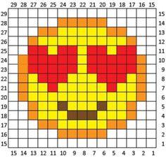 Heart Eyes Emoji Crochet Square and Pixel Graph - Repeat Crafter Me Pixel Crochet Blanket, Graph Crochet, Stitch Crochet, C2c Crochet, Tapestry Crochet, Crochet Squares, Filet Crochet, Crochet Patterns, Emoji Patterns