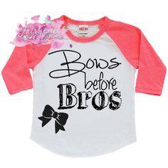 Bows Before Bros Shirt - Hipster Shirt- Trendy screenprint shirt Little Diva, Screen Printing Shirts, Hipster Shirts, Raglan Shirts, Baby Kids, Bows, Couture, Trending Outfits, Kid Stuff