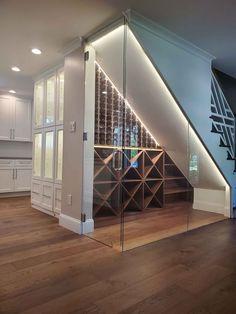 Under Stairs Wine Cellar, Wine Cellar Basement, Under Stairs Nook, Under Basement Stairs, Home Stairs Design, House Design, Wine Cellar Design, Wine Cellar Modern, Space Saving Ideas For Home