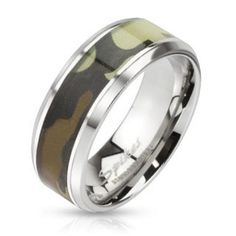 Stainless Steel Ring with Camouflage Inlay Design Beveled Edge, Ring Width of Metal: Stainless Steel. Hunting Wedding Rings, Wedding Ring Bands, Camouflage, Piercing Cartilage, Solid Gold Bracelet, Thin Gold Chain, Men's Jewelry Rings, Titanium Jewelry