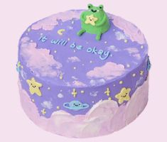 Pretty Birthday Cakes, Pretty Cakes, Kreative Desserts, Korean Cake, Pastel Cakes, Frog Cakes, Just Cakes, Box Cake, Aesthetic Food