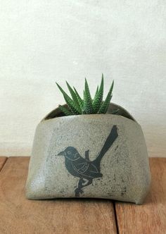 Ceramic planter, Pottery Planter, Bird Decoration Vase, Sgraffito Grey Succulent Planter,Pot for Plants, Made To Order, Hostess Gift