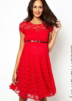 ASOS Maternity Red Lace Skater Dress Size 6 8 10 12 14 Perfect for Christmas Day