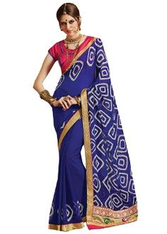 Buy Ishin Faux Georgette Saree - Blue