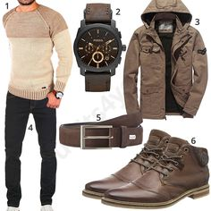Warm men's outfit with beige Reslad knit sweater, brown jacket with hood, bugatti leather belt and short-shaft boots, black Wotega jeans and Fossil wristwatch.  1. Pullover► amzn.to/2GfDbBT (-50%)  2. Clock► amzn.to/2GfD3lT (-28%)  3. Jacket► amzn.to/2EH4iZw (-33%)  4. Trousers► amzn.to/ 2GiDKLr 5. Belt► amzn.to/2EwYgeY 6. Shoes► amzn.to/2GgMNfO