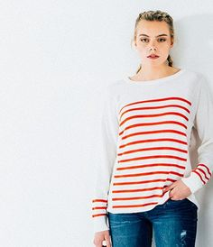 NEW: Merino Stripe Sweater - Ivory/ Warm Coral