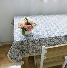 Kingmerlina Cotton Linen Rectangle Bohemian Floral Print Tablecloth Polyester Multi Size * Continue to the product at the image link.