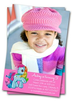 My Little Pony Birthday Invitations : Rainbow Dash, Custom Party Invitation with Photo, Printable Party Supplies available