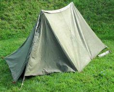 Shelter Half 2 Halves Olive Drab OD Green Canvas Pup Tent 2 Man US Army USMC & Complete Shelter Half Tent 2 Man Pup US Military USGI Surplus OD ...