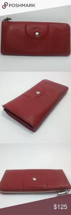 c8955c3e505 LONGCHAMP Le Pliage Red Leather Cuir Long Wallet LONGCHAMP Le Pliage Cuir  Red Leather Wallet (