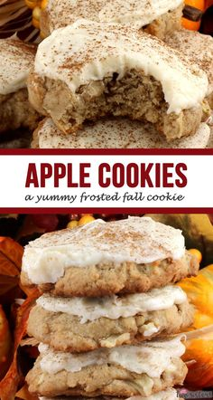 Apple Cookies - a yummy frosted Fall Cookie! A moist and delicious Apple Cookie topped with mouthwatering Cream Cheese Frosting? Yes, please! Pin this Fall Cookie Recipe for later so you can make a batch for your family during apple season. You won't be sorry! #FallCookies #FallCookieRecipe #FallBakingIdeas