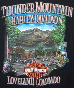 Thunder Mountain Harley Davidson Graphic Tee Large L Black Short Sleeve Cotton  #HarleyDavidson #GraphicTee