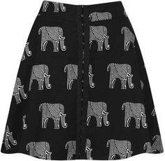 Elephant Print Skater Skirt on shopstyle.com
