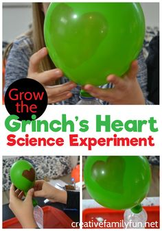 Try some Christmas science with this fun Grow the Grinchs heart science experiment. Its a STEM activity with a Christmas twist. Try some Christmas science with this fun Grow the Grinchs heart science experiment. Its a STEM activity with a Christmas twist. The Grinch, Grinch Heart, Preschool Christmas Activities, Christmas Crafts For Kids, Preschool Activities, Dallas Activities, Indoor Activities, Summer Activities, Preschool Science