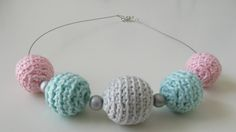 HAND CROCHETED BEADS, 100% COTTON, WOODEN BEADS, one of a kind