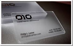 M7 Business Cards: This card looks like it is made out of clear plastic. The placement for name, email, and number at bottom is cool. I like the logo.