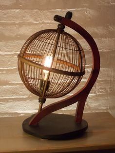 One of a kind Upcycled Antique Globe Bird Cage Table Lamp with Colored Cord and Edison Bulb