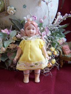 "All Bisque Porcelain Doll House Doll 4"" by CobwebsandCubbyholes, $20.00"
