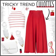 Red Culottes by ellyg91 on Polyvore featuring Glamorous, Victoria Beckham, Jenni Kayne, Tory Burch, Versace, Hermès, FOSSIL, Kate Spade, Chanel and TrickyTrend