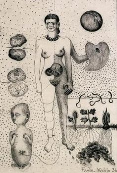 """Frida Kahlo ☠ From her sketchbook, 1936 """"I drank because I wanted to drown my sorrows, but now the damn things have learned to swim."""" Frida Kahlo"""