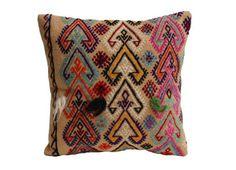 multi-colored cotton turkish kilm pillow