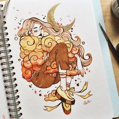 "6,741 curtidas, 21 comentários - @sibylline_m no Instagram: ""Day 3 of #MosseryArtChallenge : Fire. I will draw the 4 elements in my sketchbook once a week…"""