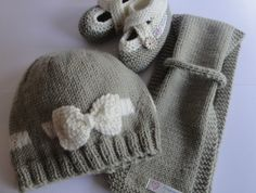 3 Piece Bow Beanie, Scarf and Cross over Shoe Set Cute Designs, Baby Hats, Baby Knitting, 3 Piece, Merino Wool, Knitted Hats, Beanie, Bows, Shoe