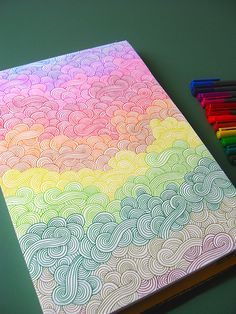 Drawing Doodles Sketches - doodling that requires no thought, quite therapeutic! Doodle Drawings, Doodle Art, Zen Doodle, Doodle Inspiration, Zentangle Patterns, Doodles Zentangles, Art Design, Art Inspo, Painting & Drawing