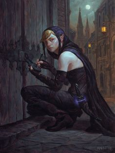 "Rogue, elven, picking the lock on a door.  ""What? This is my place. I just forgot my keys. Lucky I had my loc...DENTAL pick."""