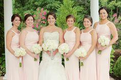 We love the necklines of these pink bridesmaids dresses! So cute // Photo by Julie Roberts  #bridesmaidsdresses #bridesmaids #wedding #castletonfarms