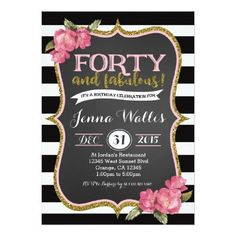 40th Birthday Invitations For Her Invitation Wording Themes Bday