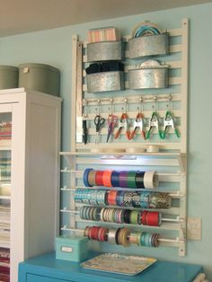 I want something like this in my office window alcove ~ Thread, yard, scissors, pins etc..