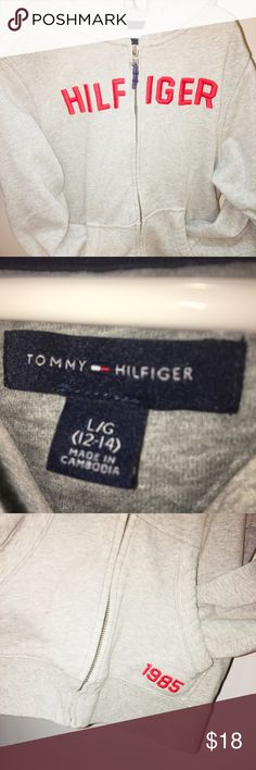 Authentic Tommy Hilfiger white and Navy striped zippered sweat jacket size med worn once like new