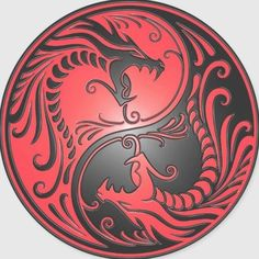 Yin Yang Dragons, red and black Round Sticker - Custom Stickers Arte Yin Yang, Ying Y Yang, Yin Yang Art, Red Dragon Tattoo, Dragon Sleeve Tattoos, Tribal Dragon Tattoos, Yin Yang Tattoos, Maori Tattoos, Polynesian Tattoos