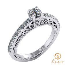 Inel din aur alb cu diamant rotund si diamante design unic ES90