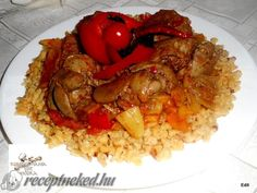 Bácskai csirkemáj My Recipes, Cooking Recipes, Risotto, Grains, Food And Drink, Rice, Chicken, Meat, Ethnic Recipes