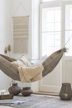 Whether you hang your indoor hammock in the family room or your bedroom your friends will wonder why they didn't think of it first! Rooms Home Decor, Fall Home Decor, Trends 2016, Indoor Hammock, Hammocks, Hammock Bed, Hammock In Bedroom, Chill Room, Meditation Rooms