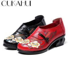 29687d647e2b OUKAHUI  Chinese  Folk  Style Exquisite  Embroidery  Pumps  Women  Shoes   Genuine  Leather Thick Heel 5cm Round  Toe Elegant Shoes Woman