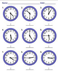 Telling Time Worksheets MathNook