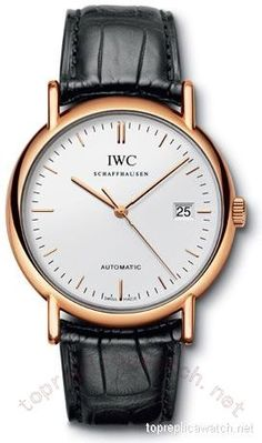 IWC Portofino Automatic 18kt Rose Gold Black Mens Watch 3533-21 Replica Watches