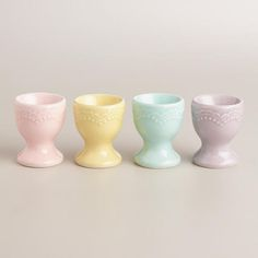 Our footed Pastel Egg Cups feature four pastel hues and embossed details. Coordinate them with our Pastel Easter Plates for a festive table setting. Easter Bunny, Easter Eggs, Egg Cups, Shot Glasses, Cupping Set, Jelly Beans, Cool Kitchens, Color Schemes, My Favorite Things