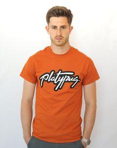 Platypus Logo - Sunset Orange T-Shirt (Unisex fit) Printed by hand in the UK www.platypus.clothing #streetwear #tshirt #typography  #apparel #street #graphics #logomark #clothing #brand