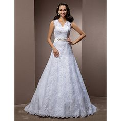 Really like this dress!  A-line V-neck Court Train Lace Wedding Dress With Removable Belt – USD $ 299.99