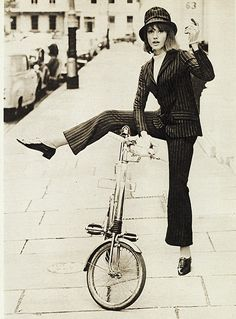 Pinstripe trouser suit, 1964 - 'This was one of the first designs we worked on. When Cathy McGowan first wore a trouser suit to the Savoy Hotel in 1965 she was thrown out. It was all over the papers. Our trouser suit, which sold for seven guineas, was our first notable success in terms of sales.' Barbara Hulanicki