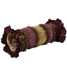Decorative Bolster Pillow Purple and Green Velvet with Beads 20x8